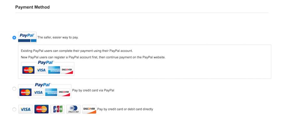 支払い方法の選択項目
